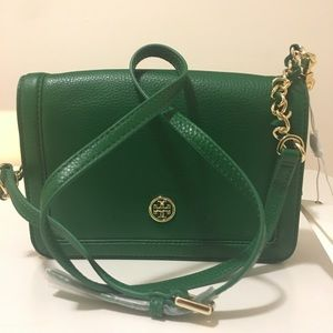 NWT Tory  Burch Landon Combo crossbody emerald